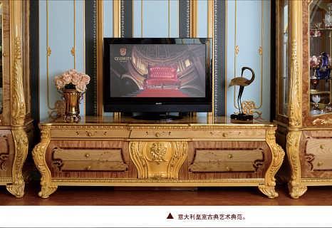 欧式电视柜奢豪实木雕花箔金柜 高档榉木电视柜2.2米