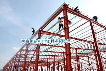江宁汤山屋面采光瓦型钢结构厂房安装