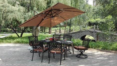 花园庭院户外遮阳伞3米方形太阳能灯罗马伞
